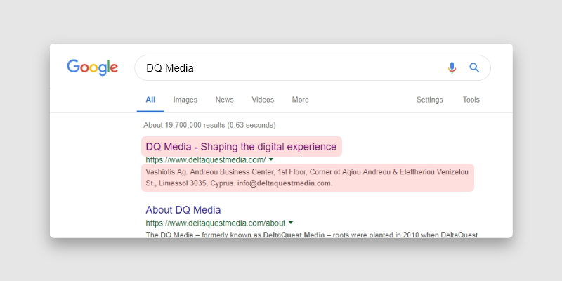 meta example in google search results